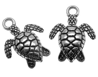 Antique Silver Double-Sided Sea Turtle Charms / Silver Ox Turtle Pendants [Choose 1 piece or 10 pieces] -- Lead & Nickle Free  40923.L10