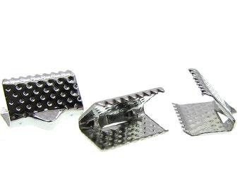 Ribbon Crimp Ends : 20 Antique Silver Ribbon Crimp Ends / Silver 10 x 8mm Ribbon Crimps / Cord Ends - Lead, Nickel, & Cadmium Free 50600.H6F