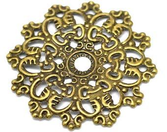 Filigree Embellishments: 10 Antique Bronze Filigree Flower Wraps / Connectors / Brass Filigree Metal Stampings  F16286