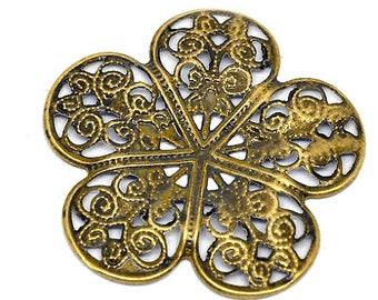 Filigree : 10 Antique Bronze Filigree Flower Wraps / Connectors / Brass Ox Metal Stampings - Lead, Nickel & Cadmium Free 14161.J6H