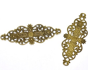Filigree : 10 Antique Bronze Filigree Flower Wraps / Brass Ox Filigree Connectors ... Lead, Nickel & Cadmium Free Jewelry Findings F13809