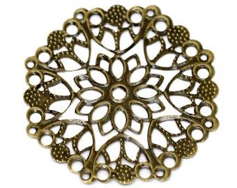 Filigree 10 Antique Bronze Filigree Connectors  Antique Bronze Filigree Stampings  Links .. Lead Nickel /& Cadmium Free F45423