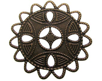 Filigree : 10 Antique Bronze Filigree Flower Wraps   Brass Ox Metal Stampings Connectors - Lead, Nickel & Cadmium free 14169.L
