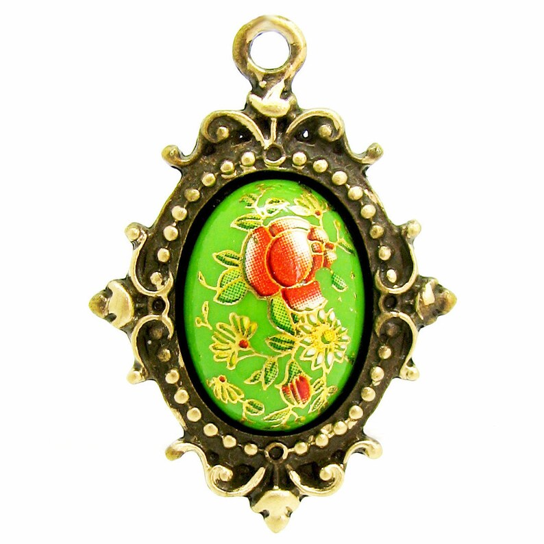 Apple Green Vintage Tensha Japanese Floral Cameo in an Antique Bronze Setting Highlighted with 18K Gold Leaf
