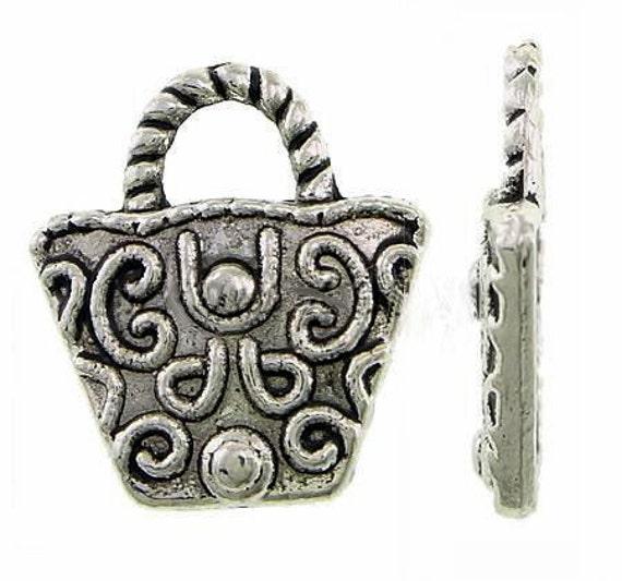 4 Handbag charms antique silver tone CA185