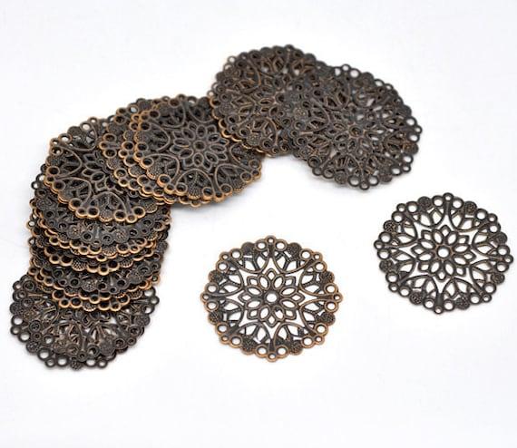 Filigree : 10 Antique Bronze Filigree Links Lead Brass Ox Filigree Connectors Nickel /& Cadmium Free F97047 Stampings