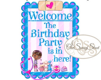 Doc McStuffins Birthday Party Welcome Sign Printable Door Sign Instant Download Girl Birthday Party Decoration Welcome Lambie Stuffy # 1570