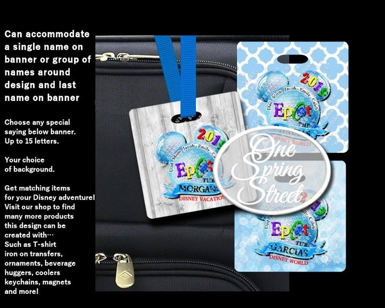 d1bfde126f0d Disney Luggage Tags EPCOT Personalized Bag Tag Backpack ID Bookbag Stroller  sign Family Vacation Mickey Minnie Design- # LG 147