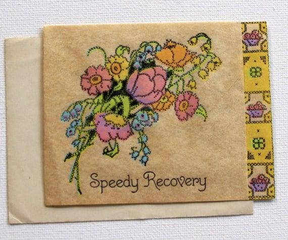 Vintage Unused Get Well Card 1940/'s Rose Theme Paper Ephemera Collectible Estate Sale
