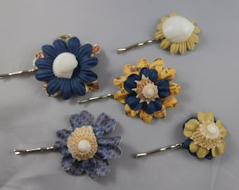 Lot of 5 Sea Shell Flower Bobby Pins