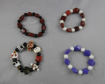 SET OF 4 Acrylic and Lampwork Glass Stretch Bracelets - Great Gift for Kids!