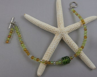 Green, Amber, and Silver Bracelet with Charm