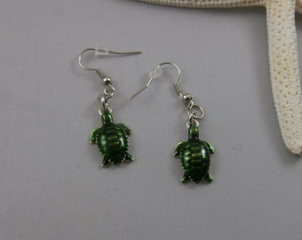 Green and Silver Sea Turtle Earrings