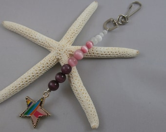 Pink and Purple Ombre Star Key Chain