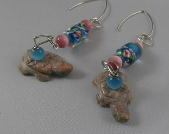 Lampwork Glass and Stone Turtle Earrings