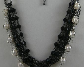 Dark Silver and Pearl Multi Layer Necklace