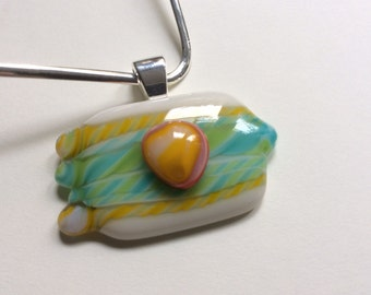 Twisty Cane Tendrils Fused Glass Pendant with Choker Wire