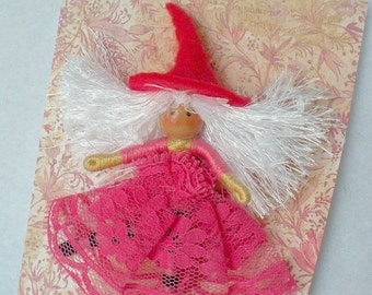 Witch Doll Pin, Pink Witch Doll Brooch,  Halfpenny Bendy Doll Hot Pink, Scarf Pin, Lapel Pin, Hat Pin