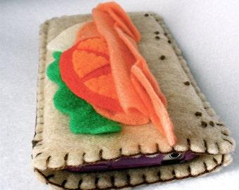 Felt Sandwich Phone Case,  3D Felt Submarine,  Hoagie Phone Cozy,  Grinder iPhone, Android Case