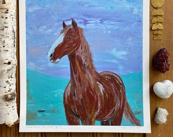 Horse Pony Print Chestnut Equine Equestrian Gift Pastel Minimalistic Textured Art Secretariat Horse Racing Western Pleasure English Riding
