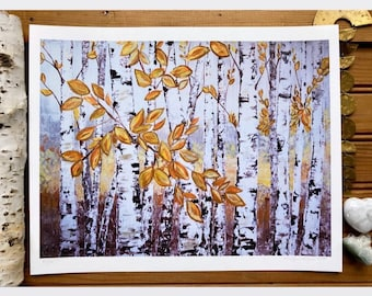 Print of Original Art Painting Summer Fall Autumn Tree Home Decor Wall Art Modern Aspen Birch Landscape Forest Rustic Yellow Leaves