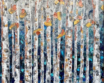 NEW Large Modern Art Original Painting Impasto Textured Acrylic Nature Landscape Woodland Forest Aspen Birch Tree Colorful Vibrant Blue Teal