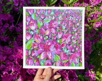NEW Original Print Floral Field Little Pink Magenta Petals Flowers Spring Colorful Art- Michigan Flower Art Abstract Home Decor Gift