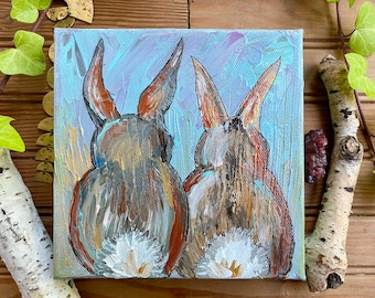 Original Bunny Art   Rabbit Bunnies Art   Baby Wall Art   Animal Portrait Painting   Woodland Animal Art   Nursery Art