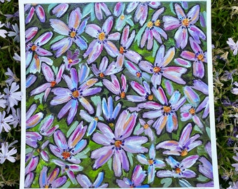NEW Original Print Floral Field Little Purple Petals Flowers Spring Colorful Art- Michigan Flower Art Abstract Home Decor Gift