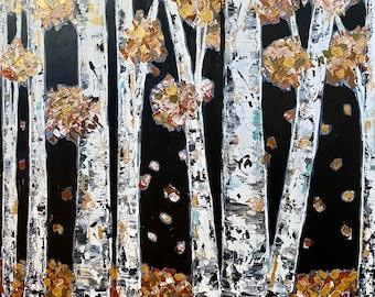 NEW Original Art Painting Fall Autumn Winter Tree Home Decor Canvas Wall Art Modern Aspen Birch Landscape Forest Rustic Metallic Moody Black