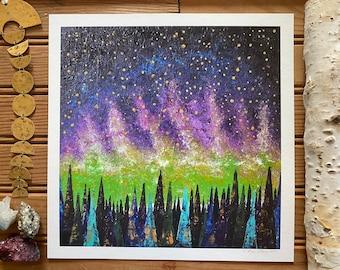 Print of Aurora Borealis Night Sky Painting Home Decor Constellation Gold Star Wall Art Space NASA Landscape Modern Camping