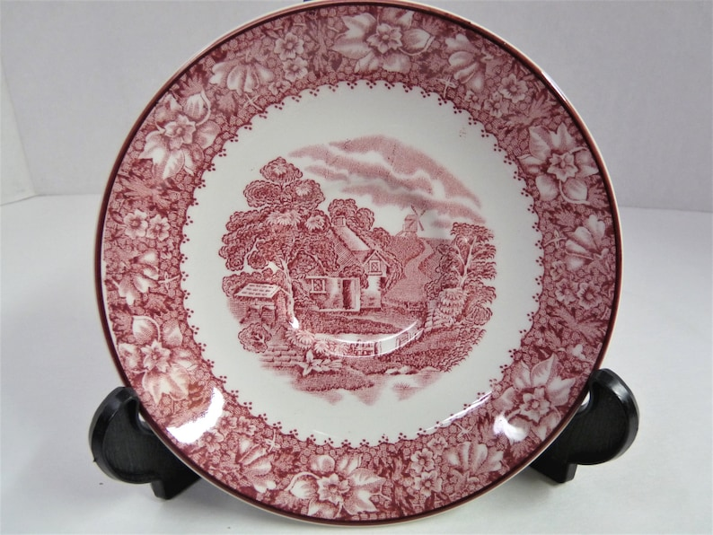 Pink ColonialEnoch Wood Colonial DishSaucerEnglandRed and WhitePink