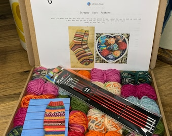 Scrappy socks knitting kit with needles included