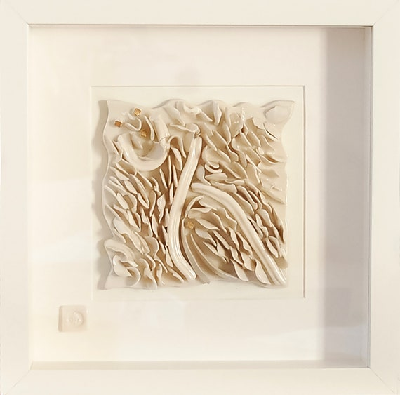 Handmade Porcelain 3-dimensional Wall Art,Contemporary,Ceramic,House Gift,White,9th Wedding Anniversary,Decorative,Abstract,Figurative,