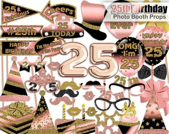 25th Birthday Photo Booth Props Rose Gold Black Party Printable INSTANT DOWNLOAD