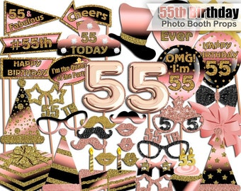 55th Birthday Photo Booth Props Rose Gold Black Party Printable INSTANT DOWNLOAD