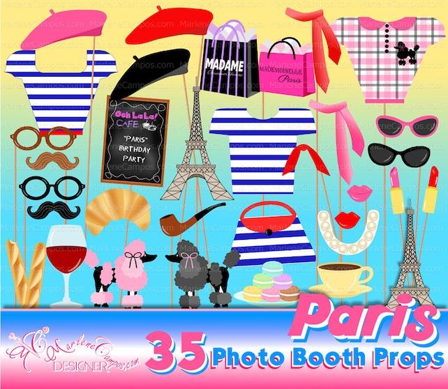 Paris Photo Booth Props Parisian Birthday Party Paris Party