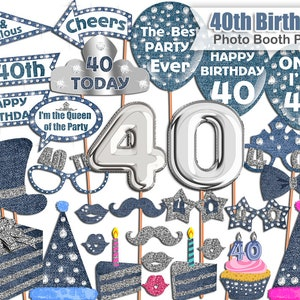 Diamonds Denim Birthday photo booth props PRINTABLE Crystal Sparkly Photo Booth props set 50th Birthday photo booth props