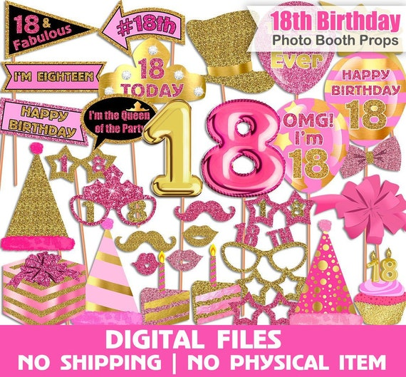 18th Birthday Photo Booth Props Pink Gold Set Printable INSTANT DOWNLOAD