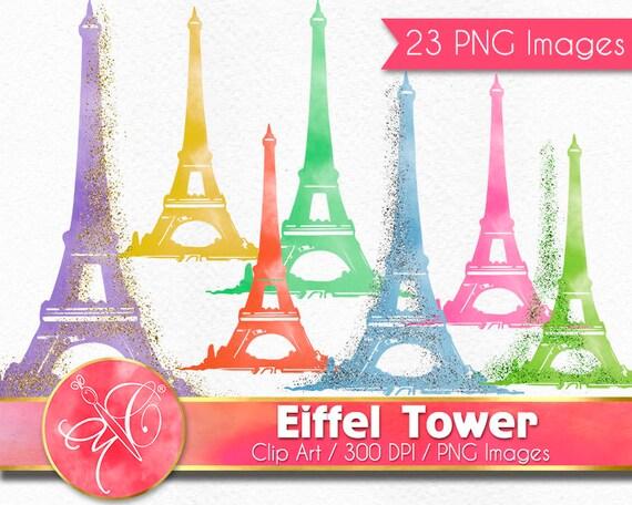 Eiffel Tower Clip Art Watercolor Clipart Glitter Overlay Paris