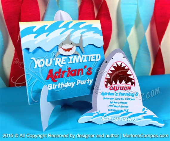 Shark Invitation Printable Birthday Party Decorations Custom