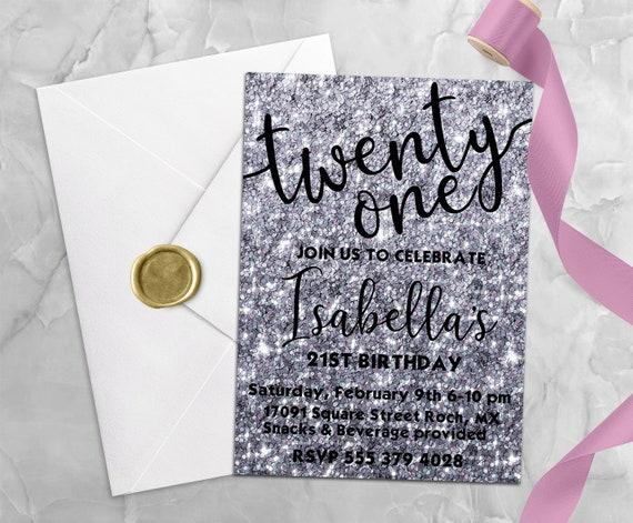 Pink Black Silver Diamond 10Th Birthday Party Personalised Invitations