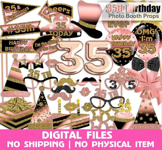 35th Birthday Photo Booth Props Rose Gold Black Gold 35th Etsy