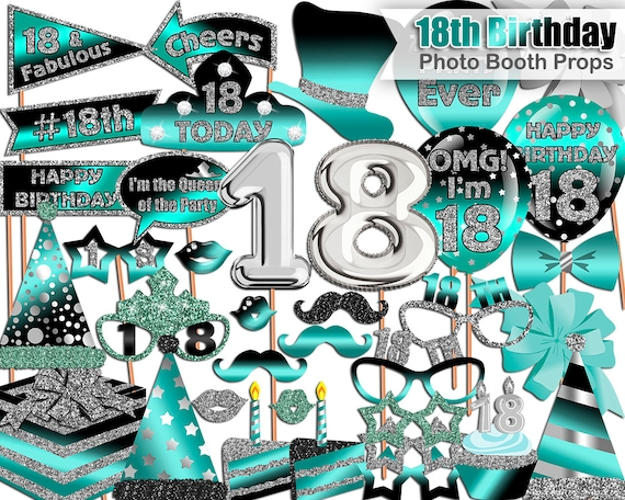 18th Birthday Photo Booth Props Turquoise Black Silver 18th