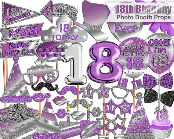 18th Birthday Photo Booth Props Purple Silver 18th Birthday Party