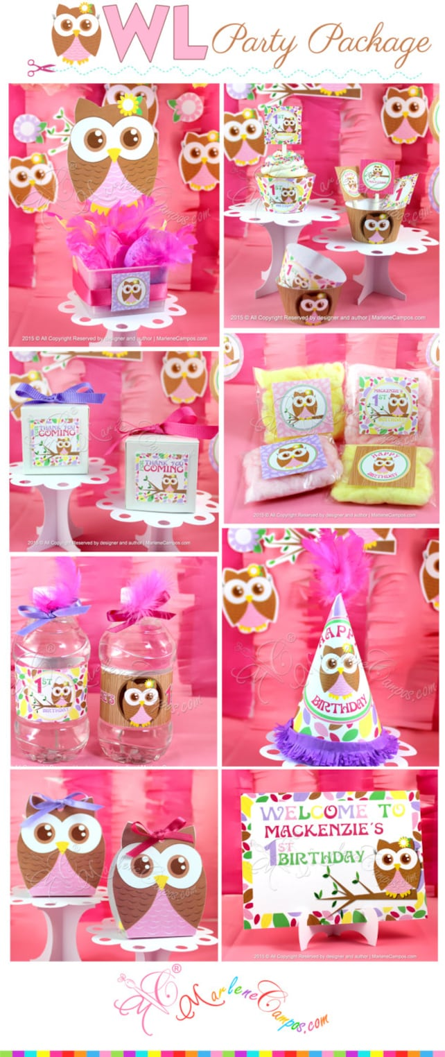 Owl Girl Birthday 1st Baby Shower Party Decoration Printables Printable