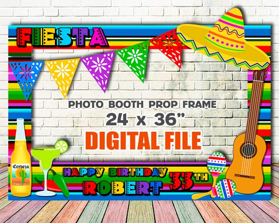 Digital Fiesta Photo Booth Mexican Fiesta Photo Booth Frame 5 De Mayo Birthday Photo Booth