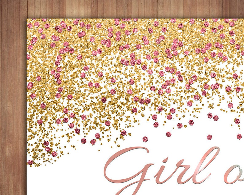 Baby girl or Baby boy PRINTABLE Gender Reveal Photo Booth Frame Glitter Effect Photo booth Backdrop Customized DIGITAL Gold