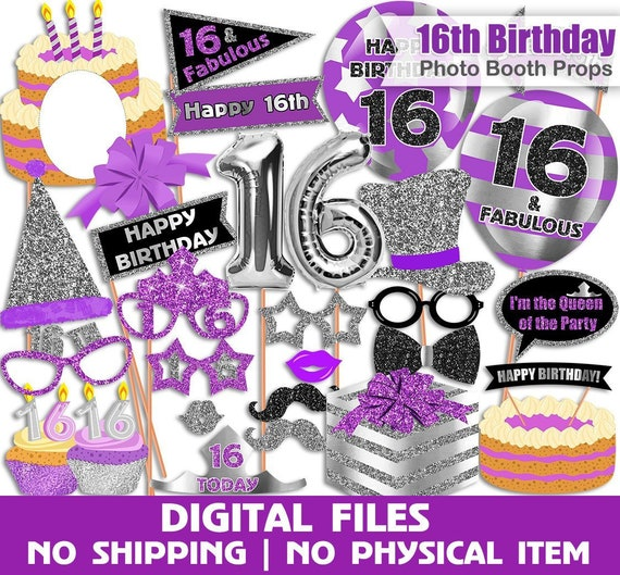 Sweet 16 Birthday Photo Booth Props Purple 16th Birthday Etsy