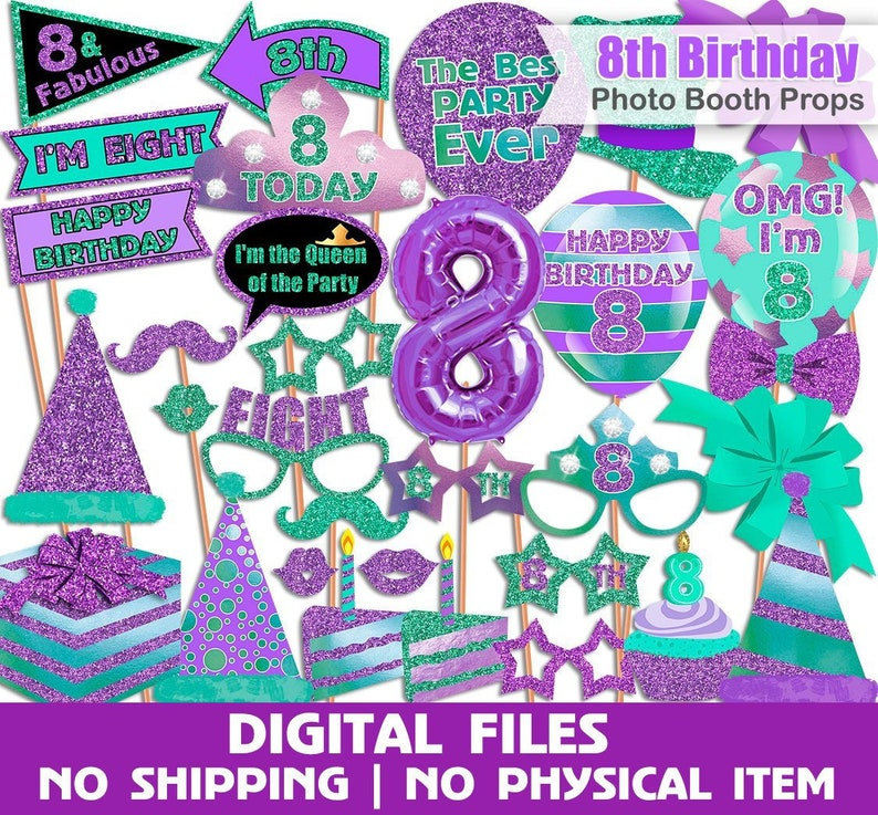 8th Birthday Photo Booth Props Purple Turquoise Birthday Photo Booth Props Photo Booth Props Set Printable Instant Download